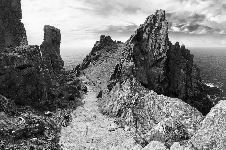 Skellig Michael, Kerry, Ireland black and white photo