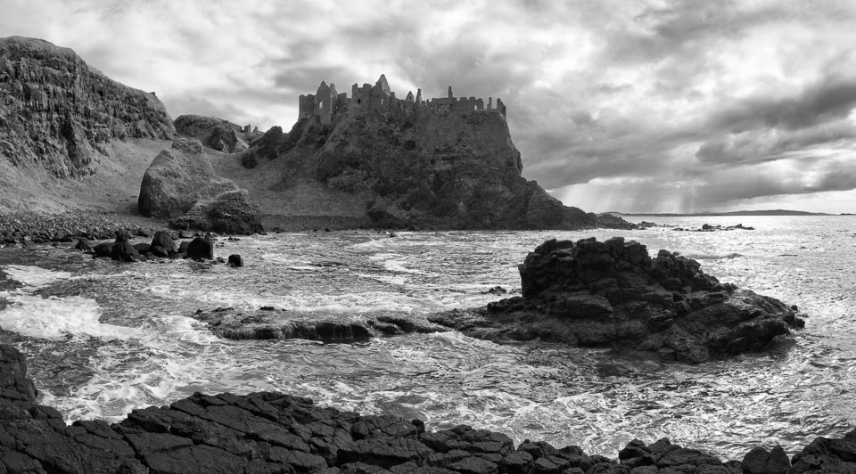Dunluce Castle, Antrim, Northern Ireland black and white photo