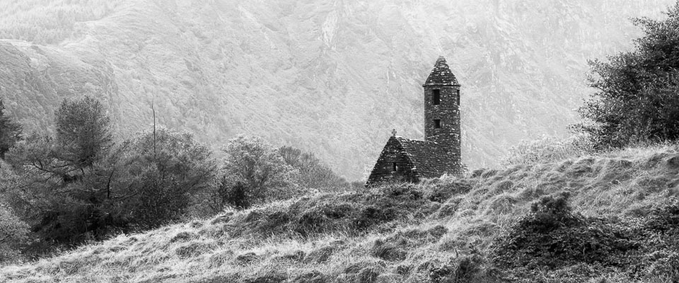 Glendalough church, Wicklow, Ireland black and white photo