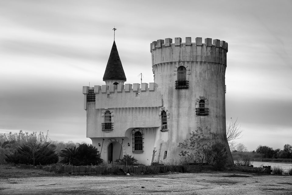 Irish Bayou Castle,Louisiana, USA black and white photo
