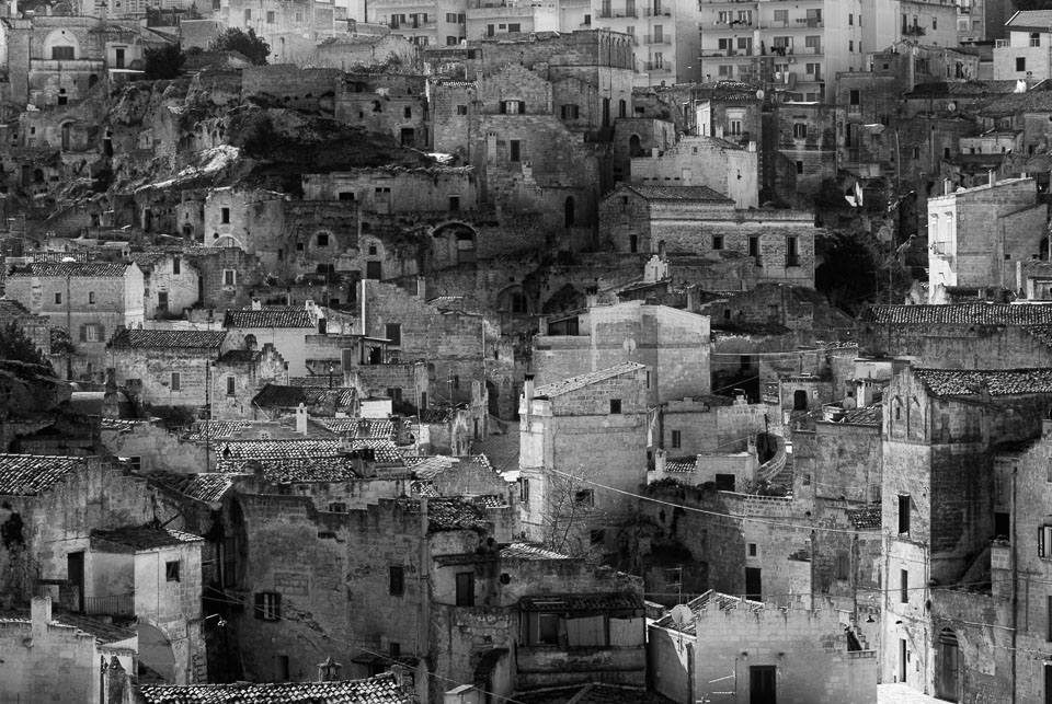 Matera, Basilicata, Italy black and white photo