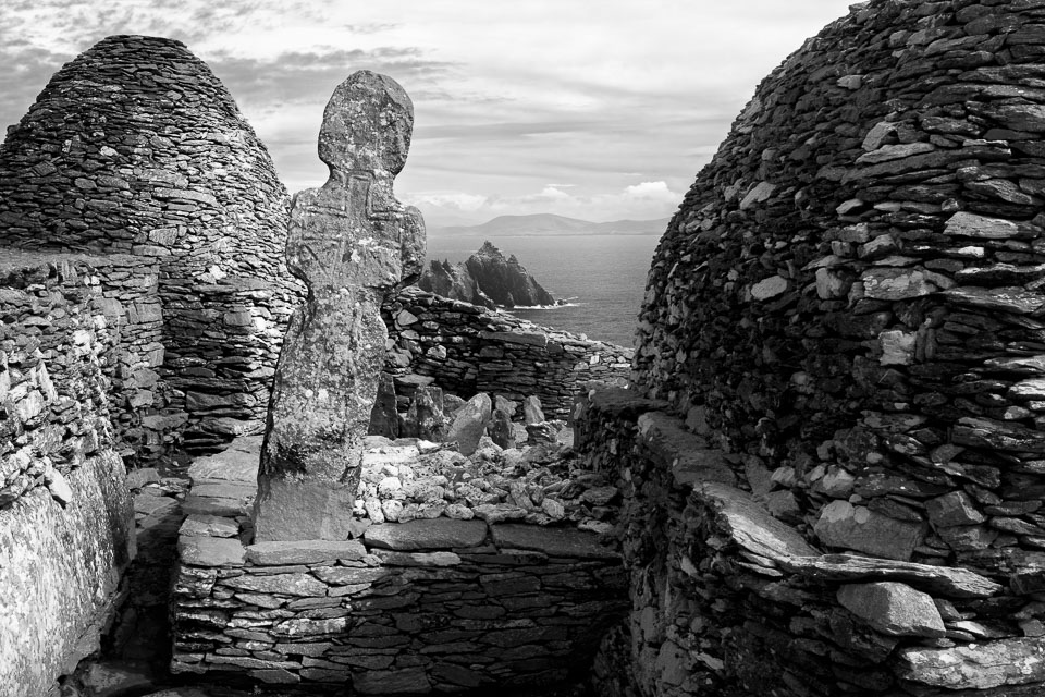 Skellig Michael cross, Kerry, Ireland black and white photo