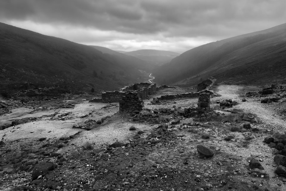 Wicklow hills ruins, Ireland black and white photo