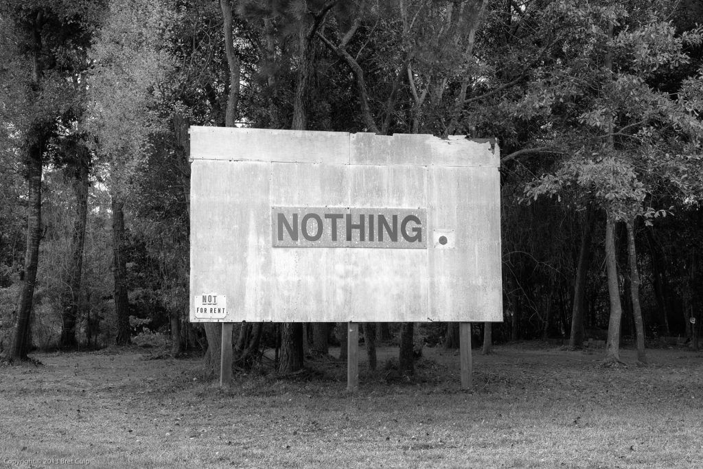 Nothing (Not For Rent), Alabama, USA, billboard sign fine art black and white photograph